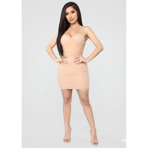 Fashion Nova Nude Ruched Mini Dress NWT Size XL